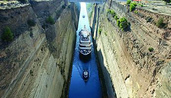Fahrt durch den Kanal von Korinth © SeaDream Yacht Club