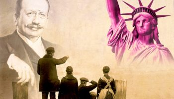 Bild mit Albert Ballin und der Freiheitsstatue © BallinStadt