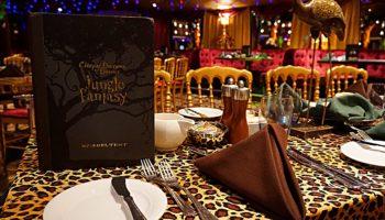 """Am Tag Escape Room, abends Dschungel-Dinner-Show - so sieht das Programm im """"Spiegeltent"""" aus. Die """"Cirque Dreams & Dinner Jungle Fantasy"""" wurde einst am Broadway gespielt. Das Drei-Gänge-Menü wird von in bunte Fantasiekostüme gekleidete Kellner serviert © Melanie Kiel"""