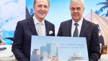 Karl J. Pojer und Frank Horch verkünden die Taufe der HANSEATIC nature in Hamburg © HL Cruises