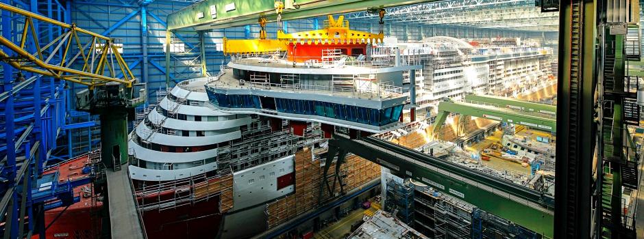 Die AIDAnova in der Werft © AIDA/Michael Wessels