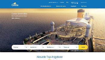 Die neue Homepage von Costa Kreuzfahrten © Costa Crociere