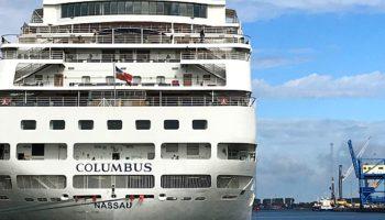 Die MS Columbus im Seehafen Rostock © Melanie Kiel