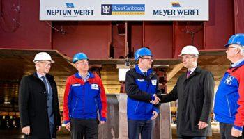 Auf der NEPTUN WERFT wurde der erste Block für dieOdyssey of the Seas auf Kiel gelegt © Meyer Werft