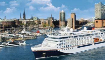 Das neue Expeditionskreuzfahrtschiff HANSEATIC spirit von Hapag-Lloyd Cruises verlässt den Hamburger Hafen zur Jungfernfahrt.